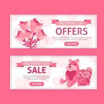 Banners de venta de día de san valentín de diseño plano