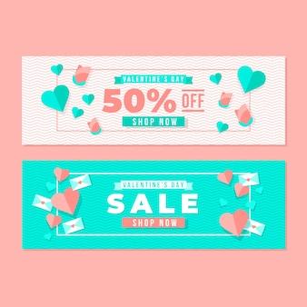 Banners de venta de día de san valentín de estilo plano