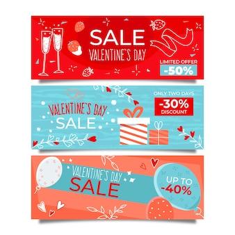 Banners de venta del día de san valentín