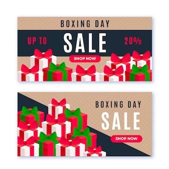 Banners de venta de diseño plano del día de boxeo