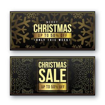 Banners de venta dorada de navidad
