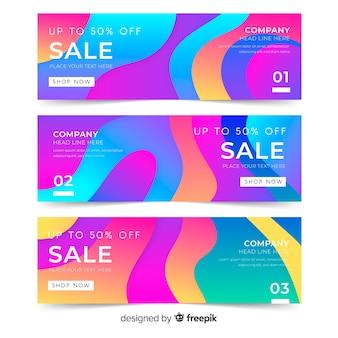 Banners de venta de efecto líquido abstracto
