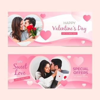 Banners de venta especial de san valentín.