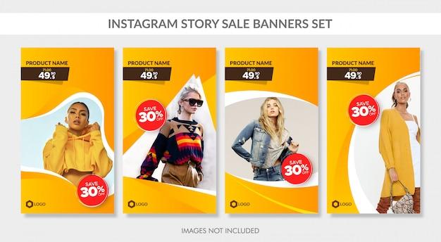 Banners de venta establecidos para la historia de instagram y la web