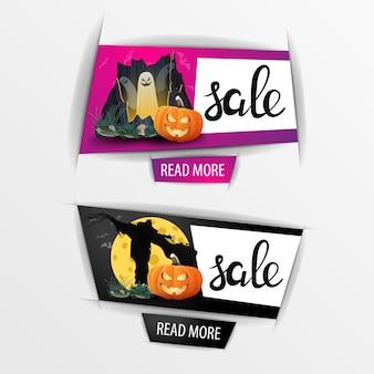 Banners de venta de halloween con calabaza jack