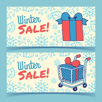 Banners de venta de invierno dibujados a mano