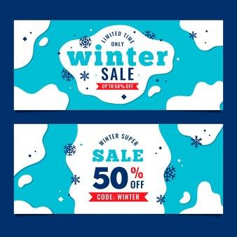 Banners de venta de invierno de diseño plano