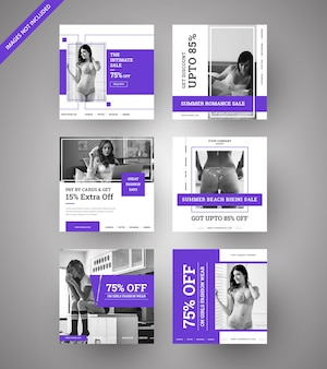 Banners de venta de moda para chicas para redes sociales y marketing digital.