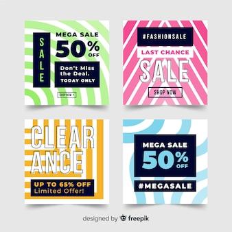 Banners de venta de moda en redes sociales