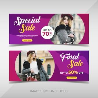 Banners de venta de moda