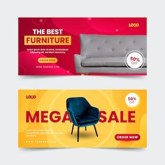 Banners de venta de muebles degradados con foto.