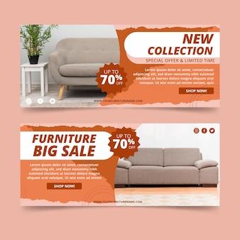 Banners de venta de muebles con descuento.