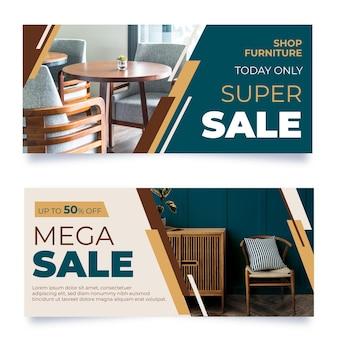 Banners de venta de muebles planos con foto.