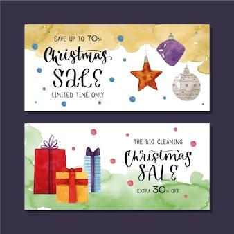 Banners de venta de navidad de acuarela con regalos envueltos y bolas de navidad