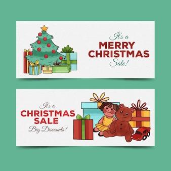 Banners de venta de navidad de acuarela
