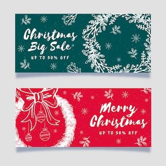 Banners de venta de navidad dibujados a mano