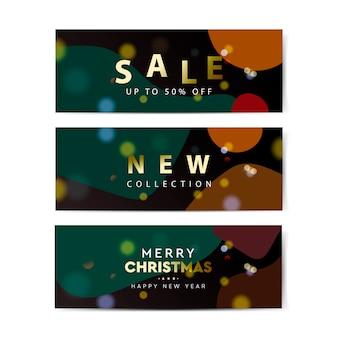 Banners de venta de navidad. plantilla de banner de diseño web geométrico abstracto.