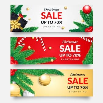 Banners de venta de navidad realistas