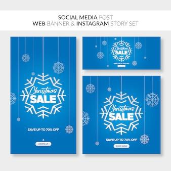 Banners de venta de navidad para web, publicaciones en redes sociales e historia de instagram