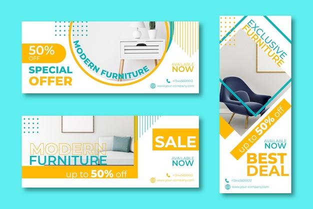 Banners de venta de oferta especial de muebles.