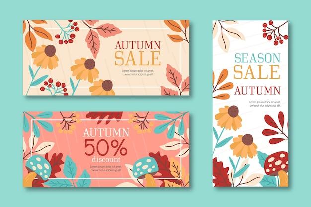 Banners de venta otoño dibujado a mano
