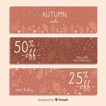 Banners de venta otoño dibujados a mano