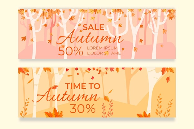 Banners de venta otoño diseño plano