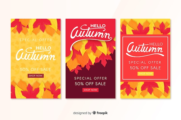 Banners de venta de otoño estilo plano