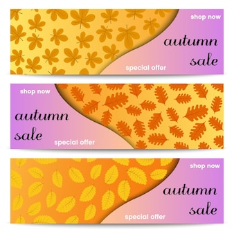 Banners de venta de otoño. tres pancartas de venta de otoño con hojas amarillas. ilustración vectorial.