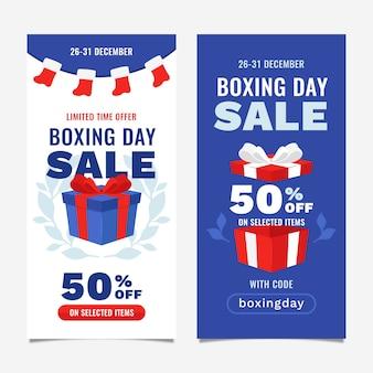 Banners de venta plana del día del boxeo