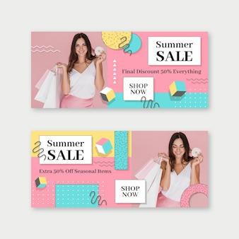 Banners de venta plana con foto.