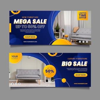 Banners de venta plana con foto. vector gratuito
