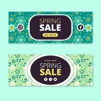 Banners de venta plana primavera