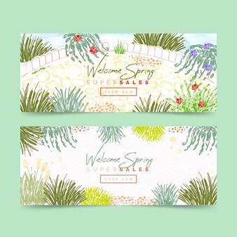 Banners de venta primavera acuarela
