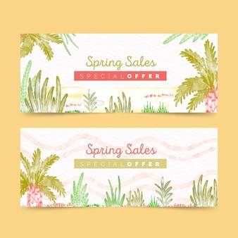 Banners de venta de primavera en acuarela