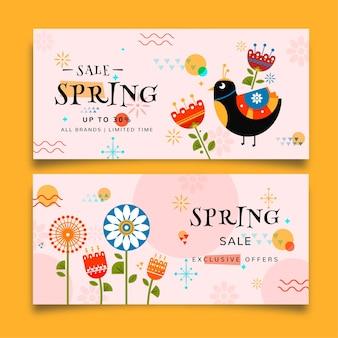 Banners de venta de primavera colorida