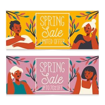 Banners de venta de primavera dibujados a mano