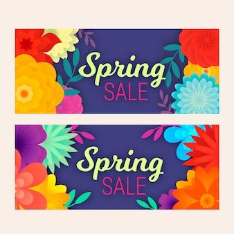 Banners de venta de primavera en diseño plano
