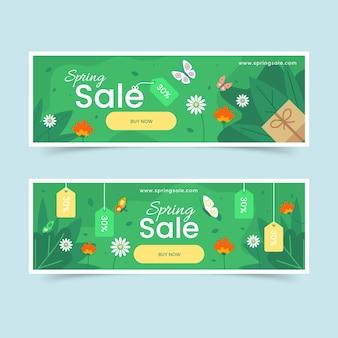 Banners de venta de primavera de diseño plano
