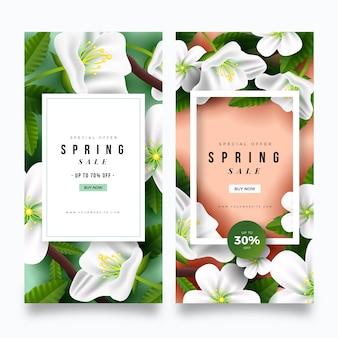 Banners de venta de primavera realista