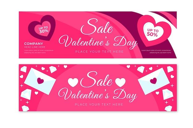 Banners de venta de san valentín con corazones