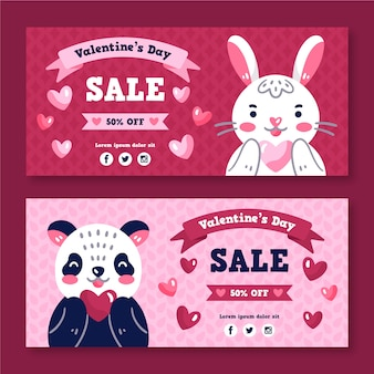 Banners de venta de san valentín dibujados a mano