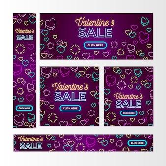 Banners de venta de san valentín de diseño plano