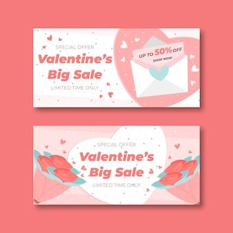Banners de venta de san valentín en diseño plano