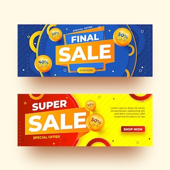 Banners de ventas abstractas realistas con descuento