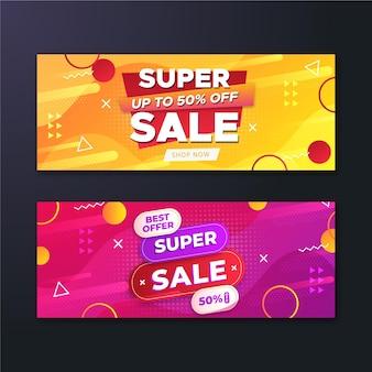 Banners de ventas abstractos degradados