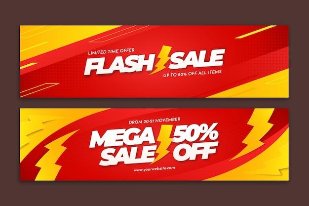 Banners de ventas creativos con detalles abstractos.