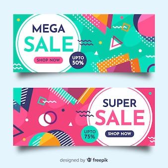 Banners de ventas en estilo memphis