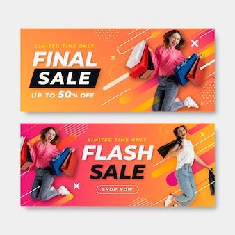 Banners de ventas finales degradados con foto.