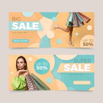 Banners de ventas planas con descuento.